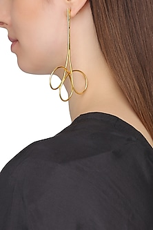 Gold Plated Abstract Spiral Earrings