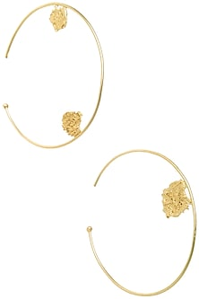 Gold Plated Oversized Hoop Earrings by Flowerchild By Shaheen Abbas