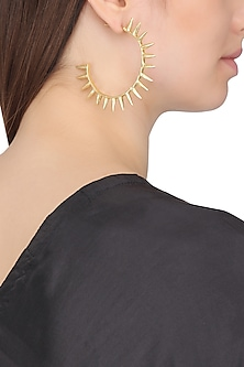 Gold Plated Open Hoop Spike Earrings by Flowerchild By Shaheen Abbas