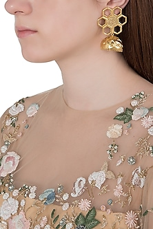 Gold Plated Geometric Flower Jhumki Earrings by Flowerchild By Shaheen Abbas