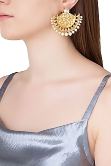 Gold Plated Stone and Pearls Textured Chandbali Earrings