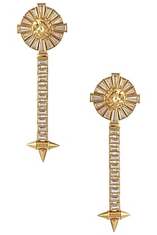 Gold Plated Stones Textured Drop Earrings by Flowerchild By Shaheen Abbas