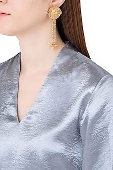 Gold Plated Stones Textured Drop Earrings