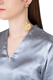 Gold Plated Stone and Pearls Drop Earrings