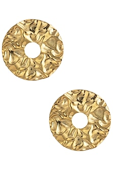 Gold Plated Circular Textured Stud Earrings by Flowerchild By Shaheen Abbas