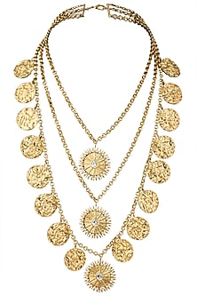 Gold Plated Stone and Pearls Tiered Statement Necklace by Flowerchild By Shaheen Abbas