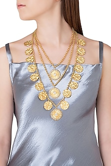 Gold Plated Stone and Pearls Tiered Statement Necklace