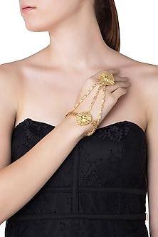 Gold Plated Stones Textured Hand Cuff