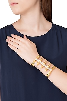 Gold Plated Stones Textured Spikes Hand Cuff