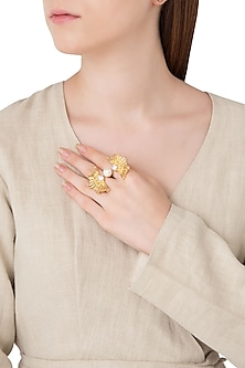Gold Plated Stone and Pearls Two Finger Ring by Flowerchild By Shaheen Abbas