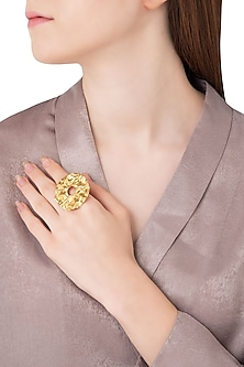 Gold Plated Circular Textured Ring