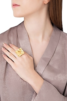 Gold Plated Square Shaped Textured Ring