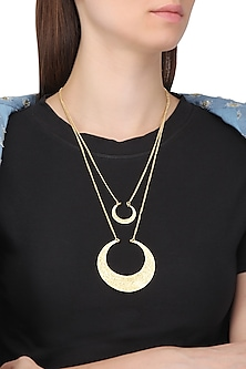 Gold Plated Double Layer Textured Crescent Necklace by Flowerchild By Shaheen Abbas