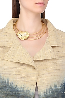 Gold Plated Textured Choker Necklace by Flowerchild By Shaheen Abbas