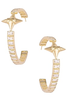 Gold plated stone hoop earrings by Flowerchild By Shaheen Abbas
