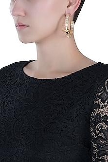 Gold plated stone hoop earrings
