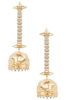 Gold plated zircon and pearl textured jhumki earrings by Flowerchild By Shaheen Abbas
