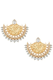 Gold plated zircon and pearl textured chandbali earrings by Flowerchild By Shaheen Abbas