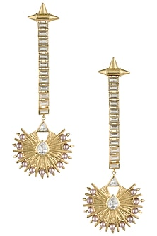 Gold plated stone and pearl drop earrings by Flowerchild By Shaheen Abbas