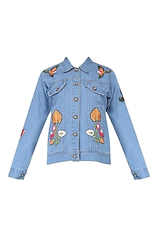 Indigo Integrated Hand Embroidered Denim Jacket