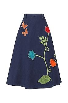 Navy blue floral embroidered denim skirt