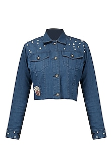 Navy blue pearl embroidered short jacket