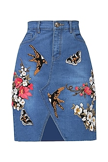Indigo blue birds and floral embroidered skirt