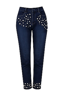 Navy blue pearl embroidered jeans