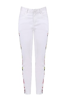 White floral embroidered denim jeans