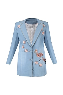 Ice blue embroidered long blazer