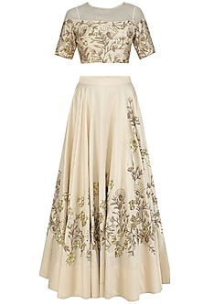 Ivory Floral Embroidered Crop Top with French Cut Sequins Lehenga Skirt by Sanya Gulati