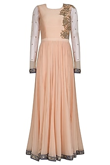 Peach and Grey Floral Embroidered Anarkali Set