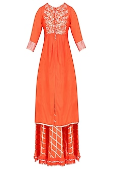 Orange Gota Patti Work Kurta and Skirt Set