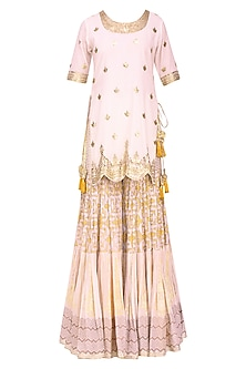 White Floral Gota Patti Embroidered Kurta and Skirt Set