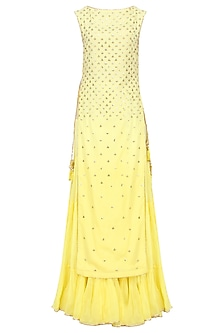 Yellow Floral Embroidered Long Kurta and Skirt Set