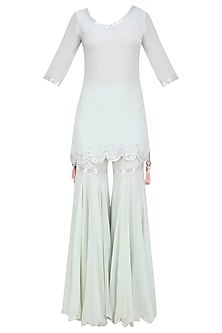 Pale Blue Sequins Embroidered Kurta and Sharara Pants Set