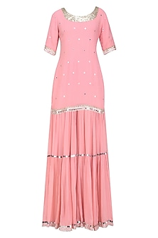 Pink Sequins and Gota Patti Work Kurta and Skirt Set