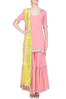 Pink Sequins and Gota Patti Work Kurta and Skirt Set by Sukriti & Aakriti