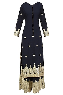 Black and Gold Gota Patti Work Pakistani Kurta and Sharara Set