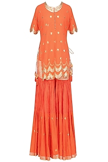 Dark Orange and Gold Sequins and Gota Patti Work Kurta and Sharara Set