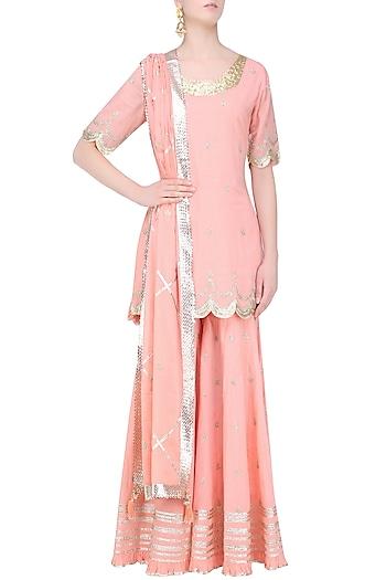 Pink and Gold Gota Patti Work Kurta and Frilled Sharara Set by Sukriti & Aakriti