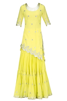 Lemon and Gold Gota Patti Work Kurta and Frilled Skirt Set