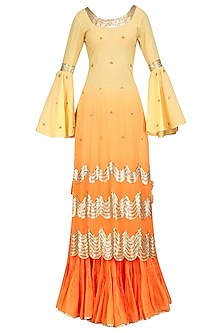 Ombre Orange and Gold Gota Patti Work Kurta and Frilled Skirt Set