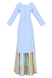 Powder Blue Gota Patti Work Kurta and Sharara Pants Set
