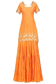 Orange Gota Patti Work Kurta and Sharara Pants Set