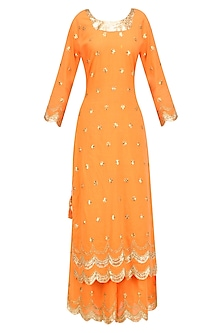 Orange Gota Patti Work Pakistani Kurta and Sharara Pants Set