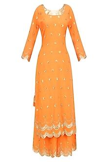 Orange Gota Patti Work Pakistani Kurta and Sharara Pants Set by Sukriti & Aakriti