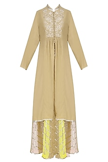 Dark Beige Gota Patti Work Kurta and Skirt Set