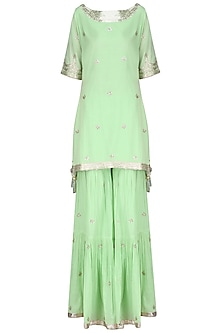 Green Gota Patti Work Kurta and Sharara Pants Set by Sukriti & Aakriti