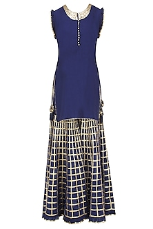 Navy Blue Gota Patti Work Kurta and Sharara Pants Set by Sukriti & Aakriti
